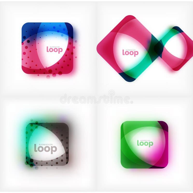 Uppsättning av symboler för affär för vektorfyrkantögla, geometriska symboler som skapas av vågor, med suddig skugga royaltyfri illustrationer
