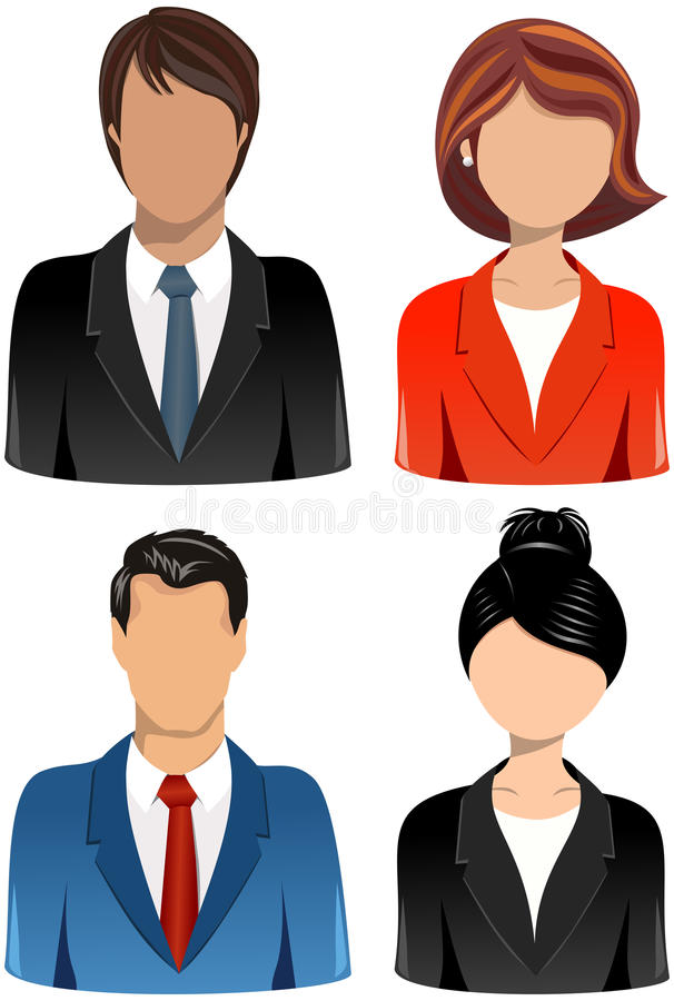 Uppsättning av symboler för affärsfolk stock illustrationer