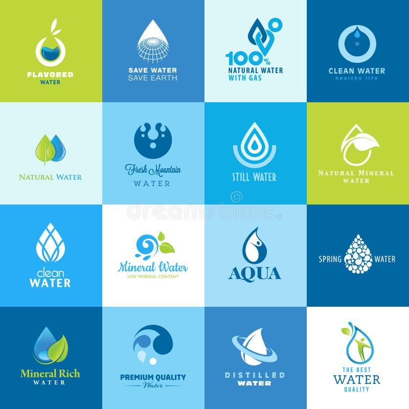 Uppsättning av symboler för alla typer av vatten stock illustrationer