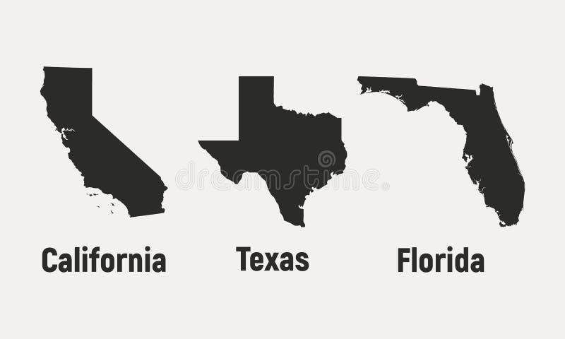 Uppsättning av 3 symboler för amerikanska stater Kalifornien Texas, Florida, USA också vektor för coreldrawillustration royaltyfri illustrationer