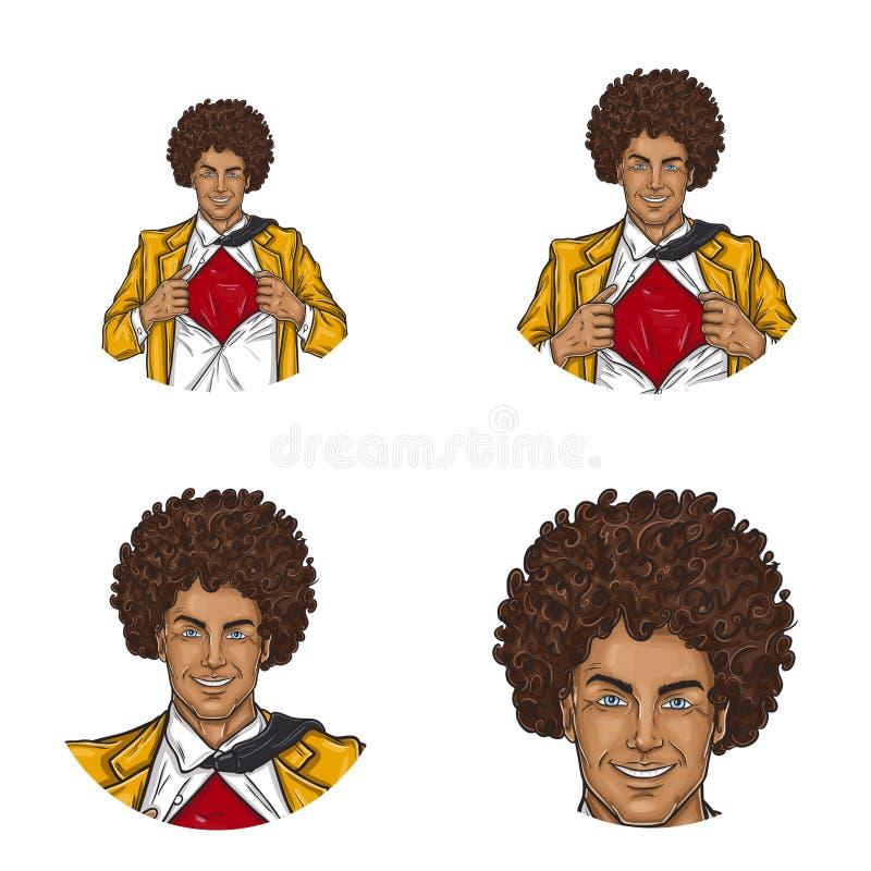 Uppsättning av symboler för avatar för runda för vektorpopkonst för användare av social nätverkande, bloggar, profilsymboler stock illustrationer
