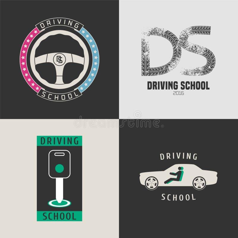 Uppsättning av symboler för bilkörskolavektor vektor illustrationer