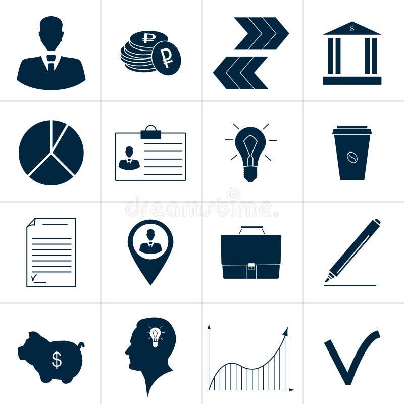 Uppsättning av symboler för blåttabstrakt begreppaffär royaltyfri illustrationer
