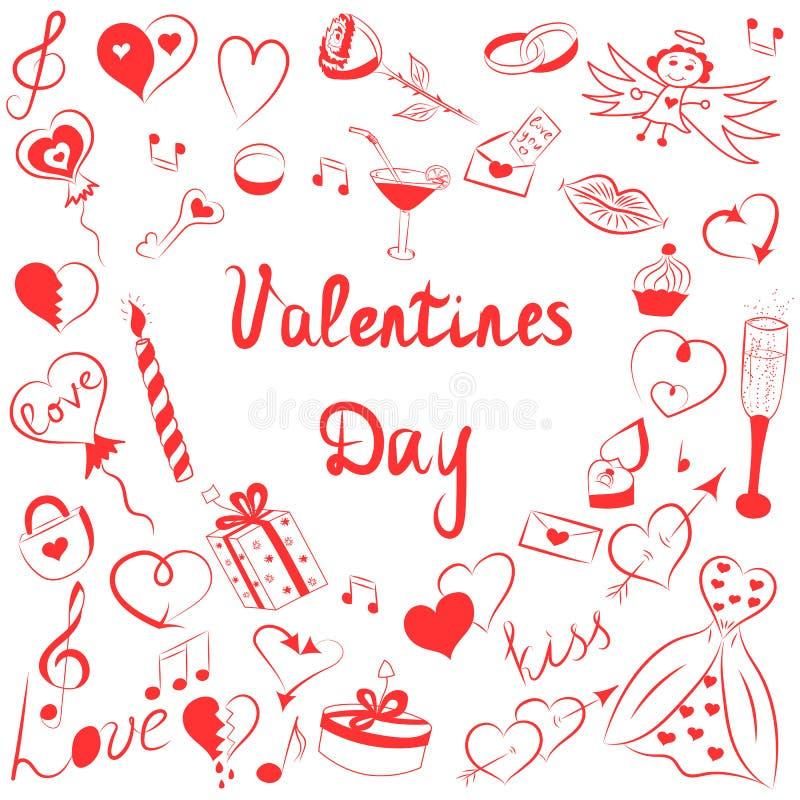 Uppsättning av symboler för dag för valentin` s Teckningar för klotter för barn` s roliga av röda hjärtor, gåvor, cirklar, ballon vektor illustrationer