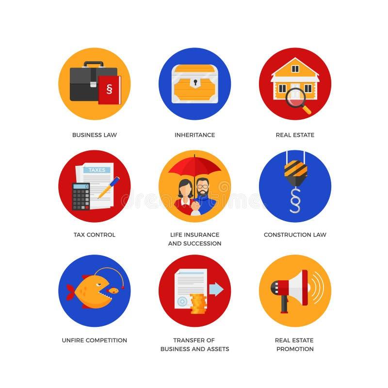 Uppsättning av symboler för företag för laglig service stock illustrationer