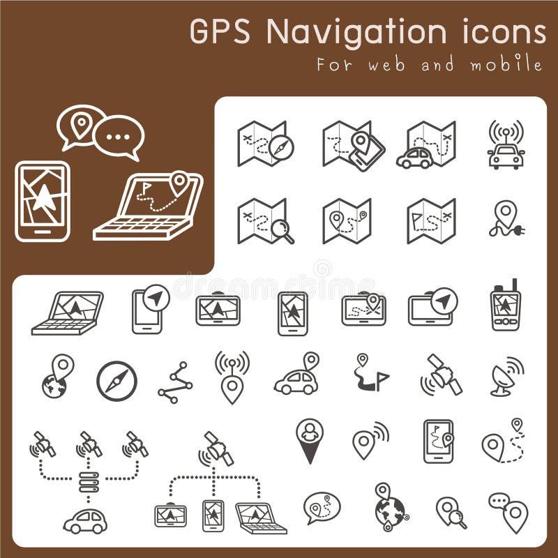 Uppsättning av symboler för gps och navigering royaltyfri illustrationer