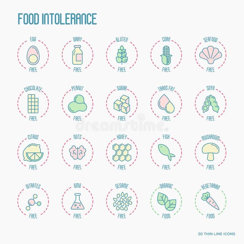 Uppsättning av symboler för ingrediensvarningsetikett vektor illustrationer
