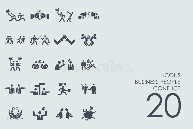 Uppsättning av symboler för konflikt för affärsfolk royaltyfri illustrationer