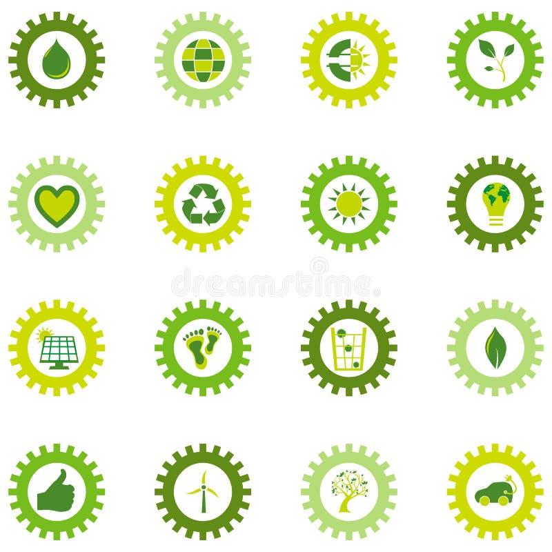 Uppsättning av symboler för kugghjulhjul från bio eco och miljö- symboler arkivfoton