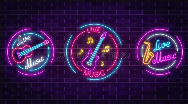 Uppsättning av symboler för levande musik för neon med cirkelramar Tre tecken för levande musik med gitarren, saxofon, anmärkning vektor illustrationer