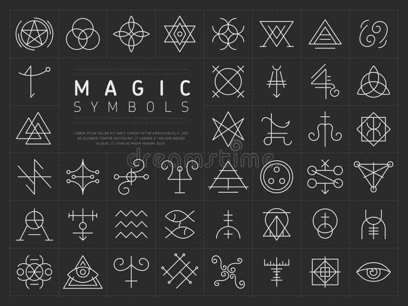 Uppsättning av symboler för magiska symboler vektor illustrationer