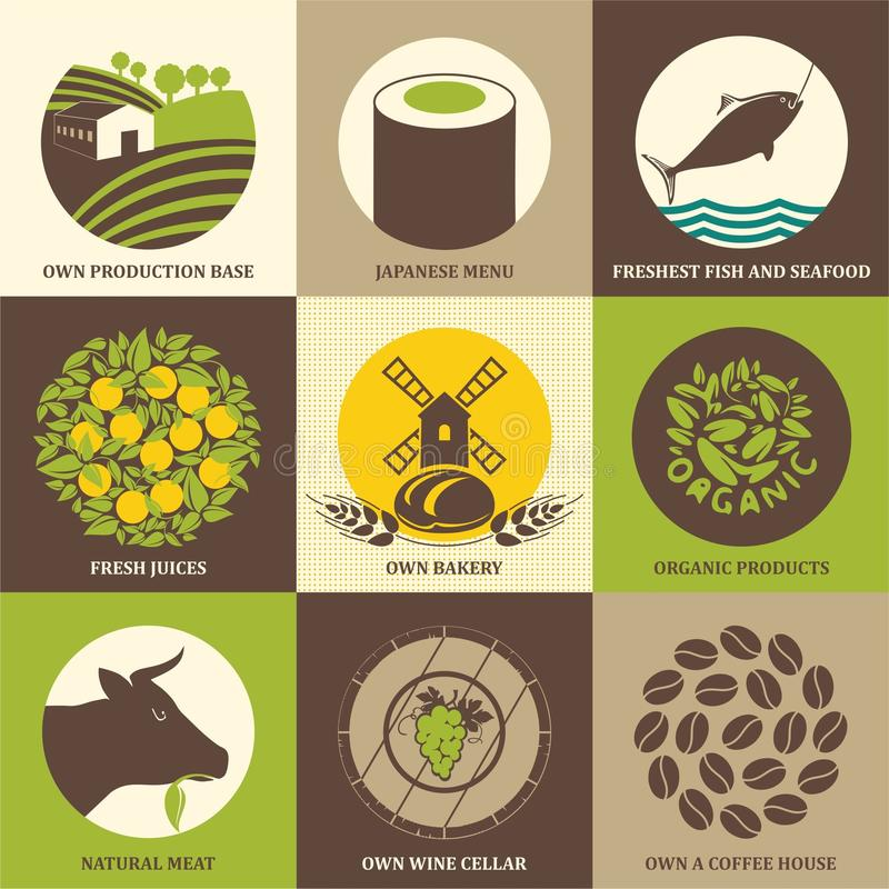 Uppsättning av symboler för mat, restauranger, kaféer och supermarket Vektorillustration för organisk mat stock illustrationer