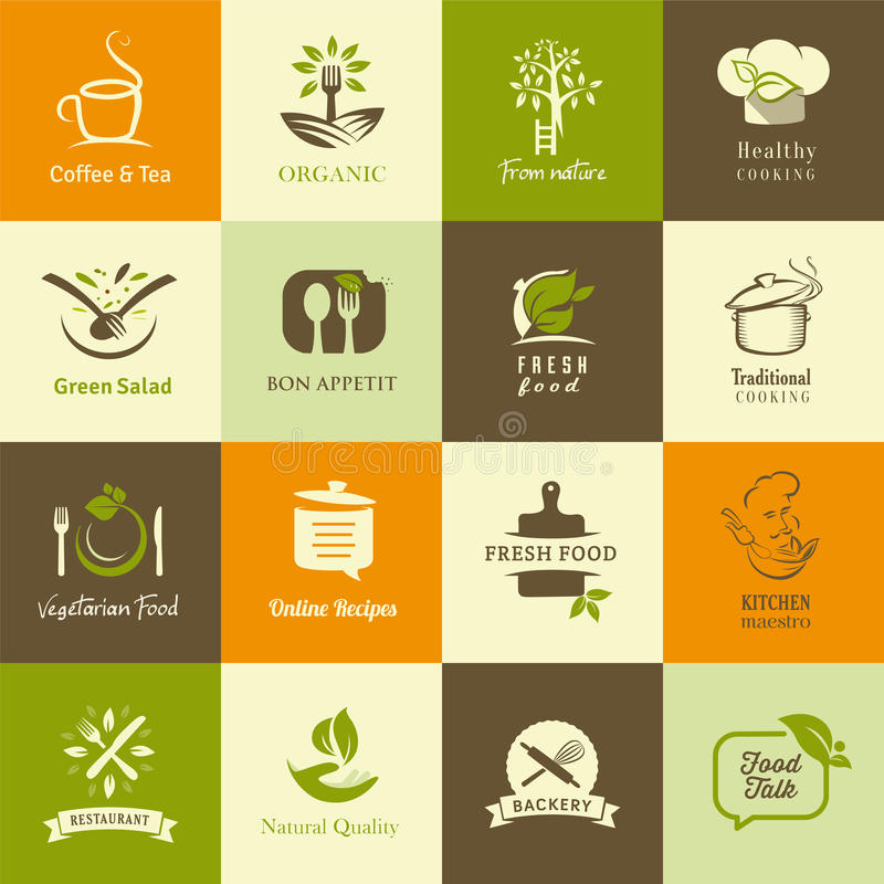 Uppsättning av symboler för organisk och vegetarisk mat, matlagning och restauranger stock illustrationer