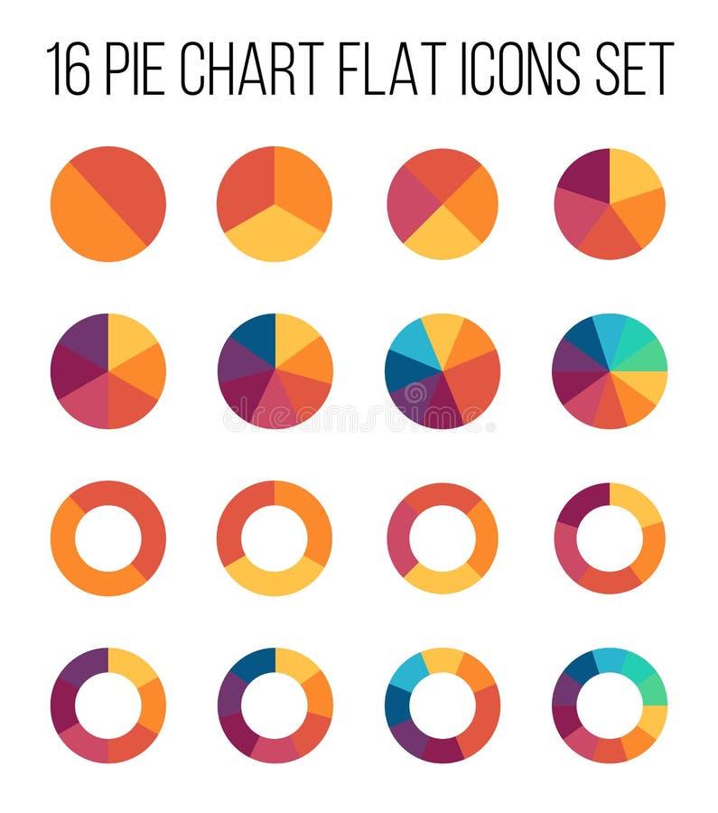Uppsättning av symboler för pajdiagram i modern tunn plan stil royaltyfri illustrationer