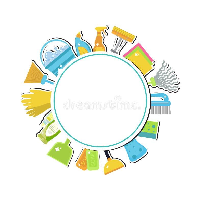 Uppsättning av symboler för rengörande hjälpmedel Huslokalvård tillförsel för svampar för bakgrundscleaningtorkduk nya orange Sän royaltyfri illustrationer