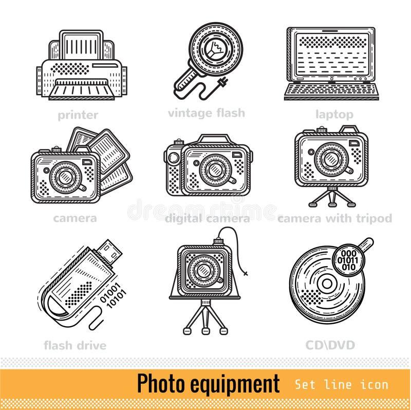 Uppsättning av symboler för rengöringsduk för fotoutrustningöversikt stock illustrationer