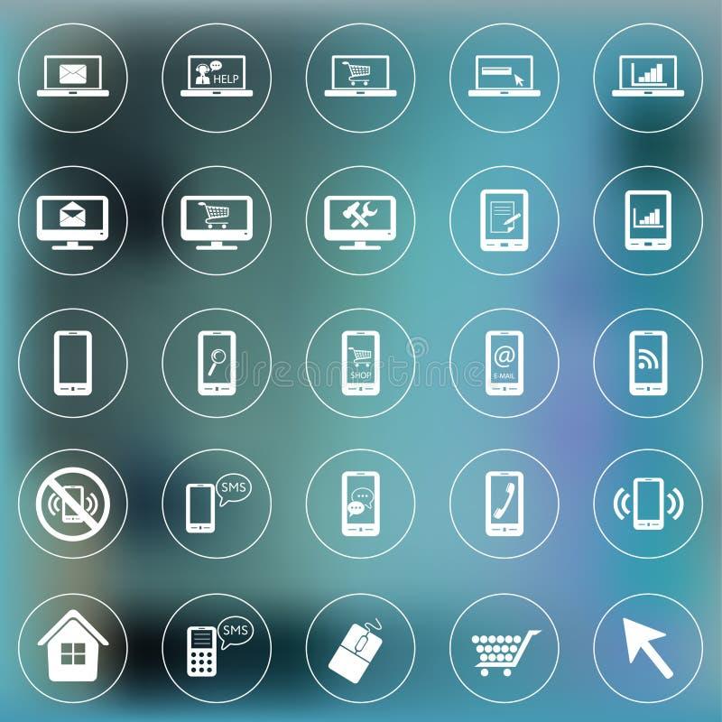 Uppsättning av symboler för rengöringsduk och mobil Smartphone bärbar dator, bildskärm royaltyfri illustrationer
