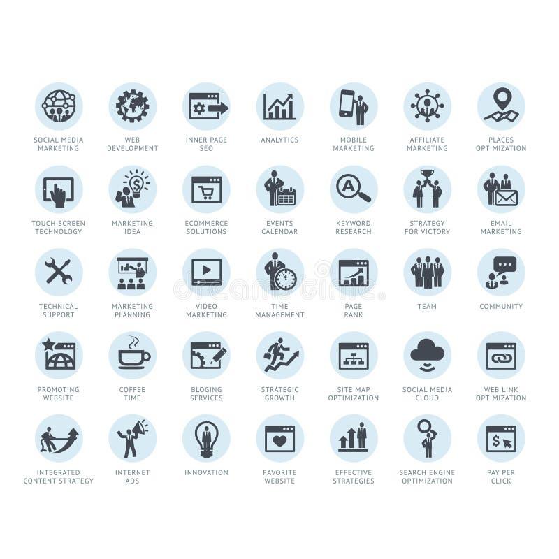 Uppsättning av symboler för SEO-företagsservice och internetmarknadsförings stock illustrationer