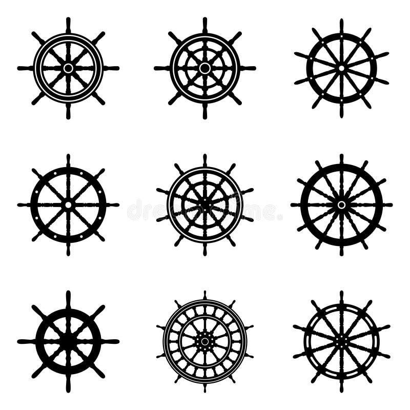 Uppsättning av symboler för skepphjulvektor royaltyfria foton