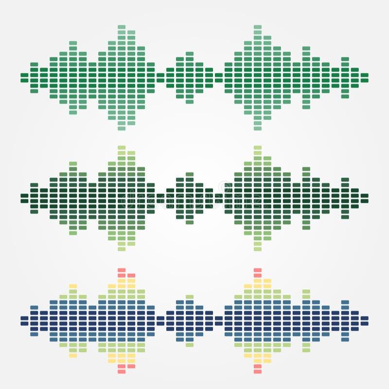 Uppsättning av symboler för solida vågor för vektor som göras med kuber stock illustrationer