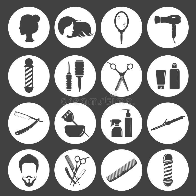 Uppsättning av symboler för tillbehör för för skönhethårsalong eller frisersalong royaltyfri illustrationer