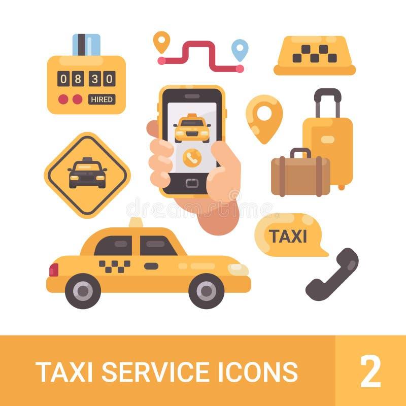 Uppsättning av symboler för tjänste- lägenhet för taxi Bil bagage, taxameter, smartphone royaltyfri illustrationer