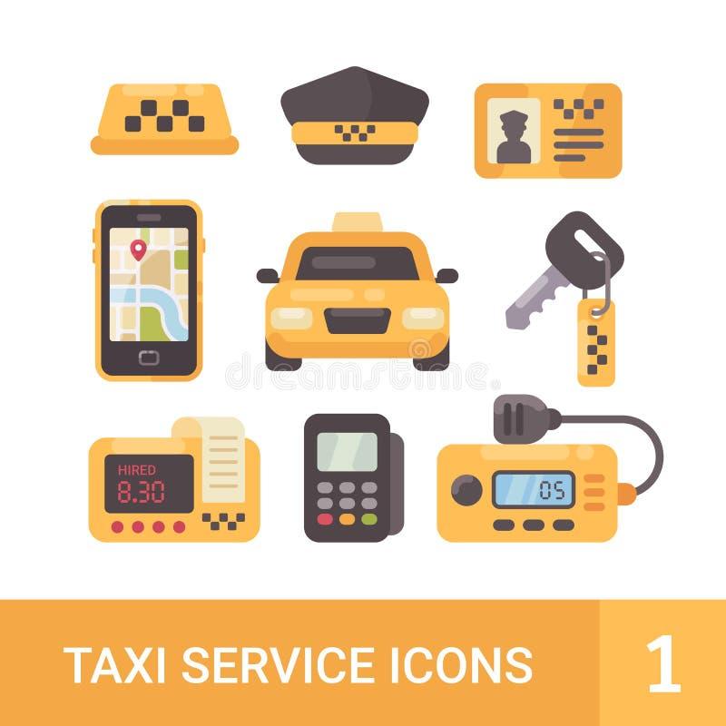 Uppsättning av symboler för tjänste- lägenhet för taxi Bil taxameter, radio, mobil app royaltyfri illustrationer