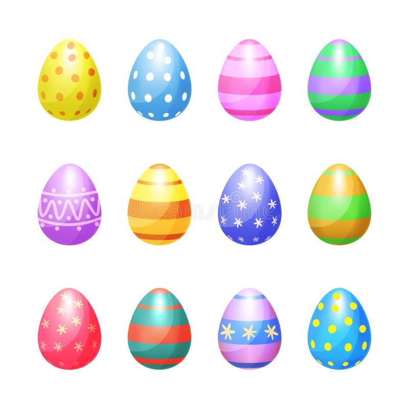 Uppsättning av symboler för vektor för färgpåskägg Guld- ägg över grön lutningbakgrund stock illustrationer