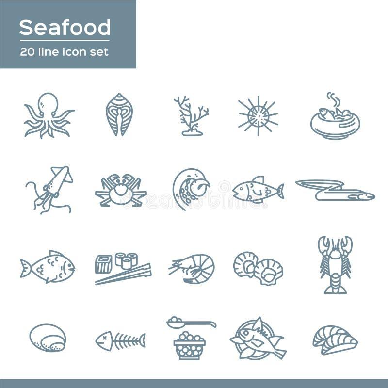 Uppsättning av symboler för vektor för havsmat släkta, lägenhetstil med den tunna linjen havs- symboler för konst på vit backgrou vektor illustrationer