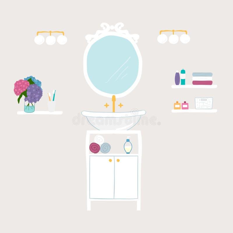 Uppsättning av symboler för vektorbadrum och för personlig hygien stock illustrationer
