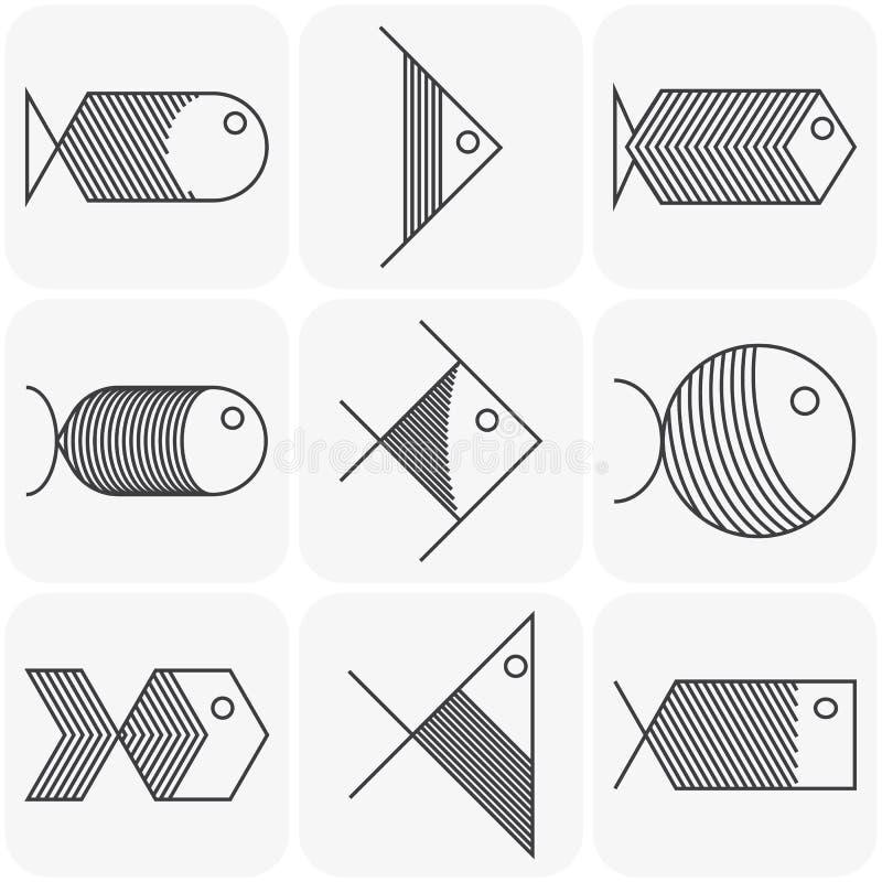 Uppsättning av symboler för vektorsvartfisk på vit bakgrund stock illustrationer
