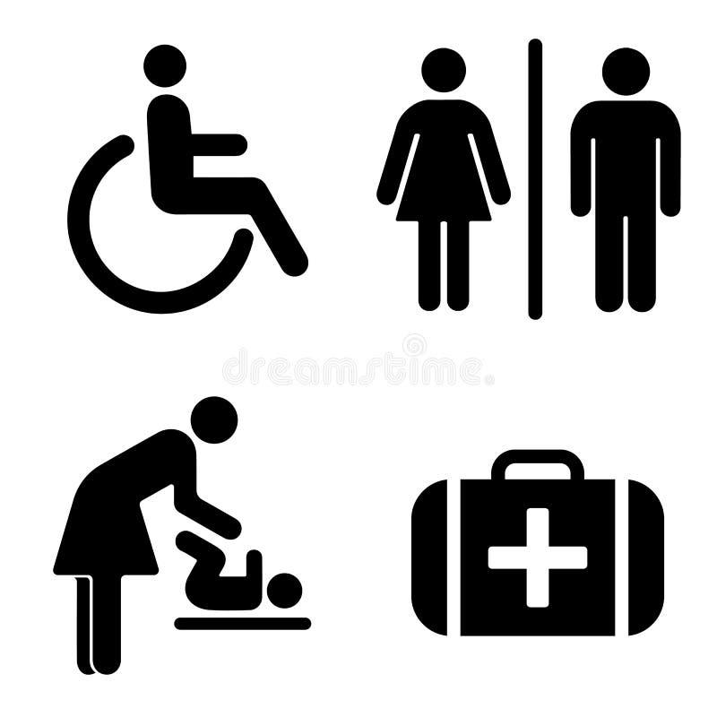 Uppsättning av symboler för WC vektor illustrationer