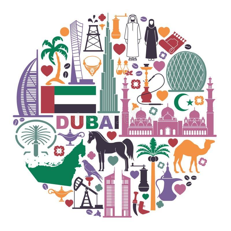 Uppsättning av symboler Förenade Arabemiraten i form av en cirkel vektor illustrationer