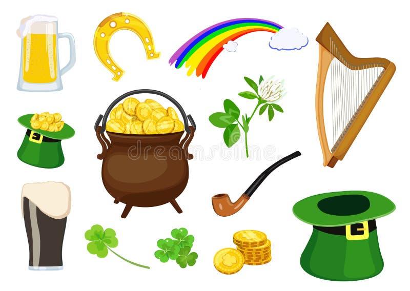 Uppsättning av symboler av ferie för dag för St Patrick ` s också vektor för coreldrawillustration royaltyfri illustrationer