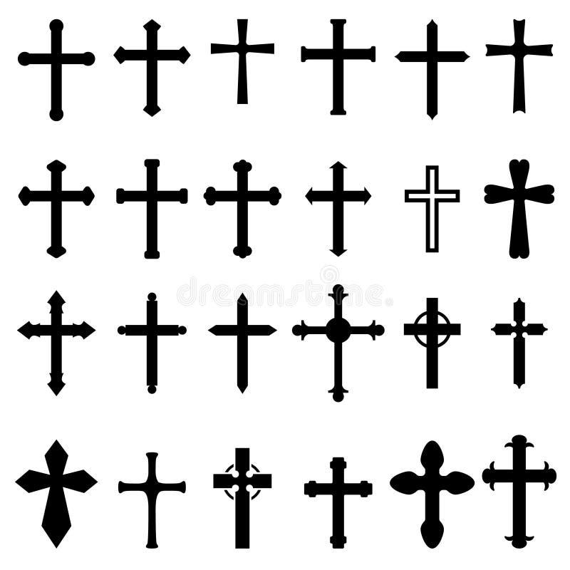 Uppsättning av symboler av kristen- och katolikkors som isoleras på vit bakgrund Planlägg beståndsdelen för affischen, kortet, em royaltyfri illustrationer