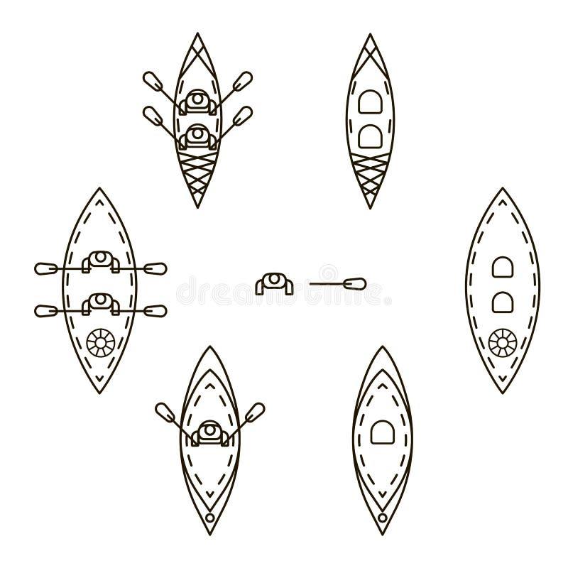 Uppsättning av symboler med kajaker vektor illustrationer