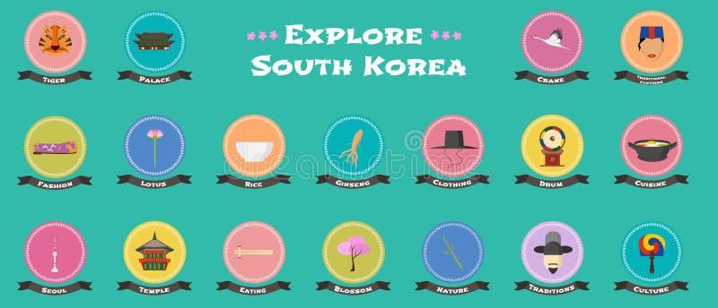 Uppsättning av symboler med koreanska gränsmärken, objekt, arkitektur i vektor royaltyfri illustrationer