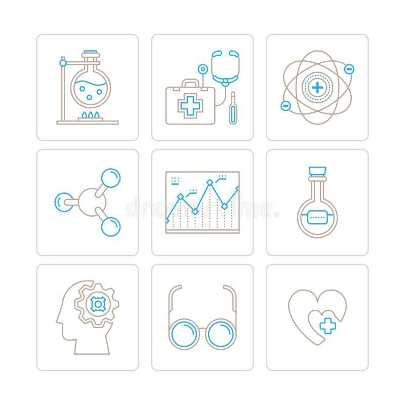 Uppsättning av symboler och begrepp för vektor medicinska i den mono tunna linjen stil stock illustrationer