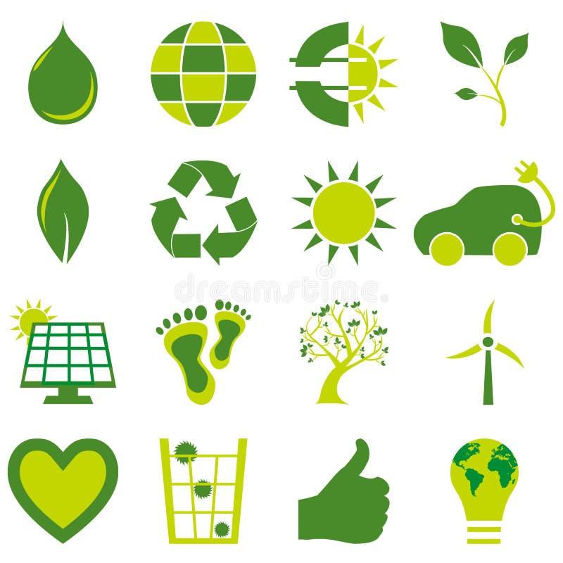 Uppsättning av symboler och symboler för bio eco miljö- släkta stock illustrationer