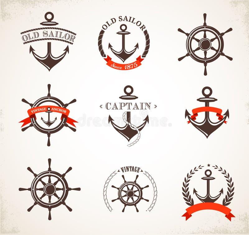 Uppsättning av symboler och symboler för tappning nautiska stock illustrationer