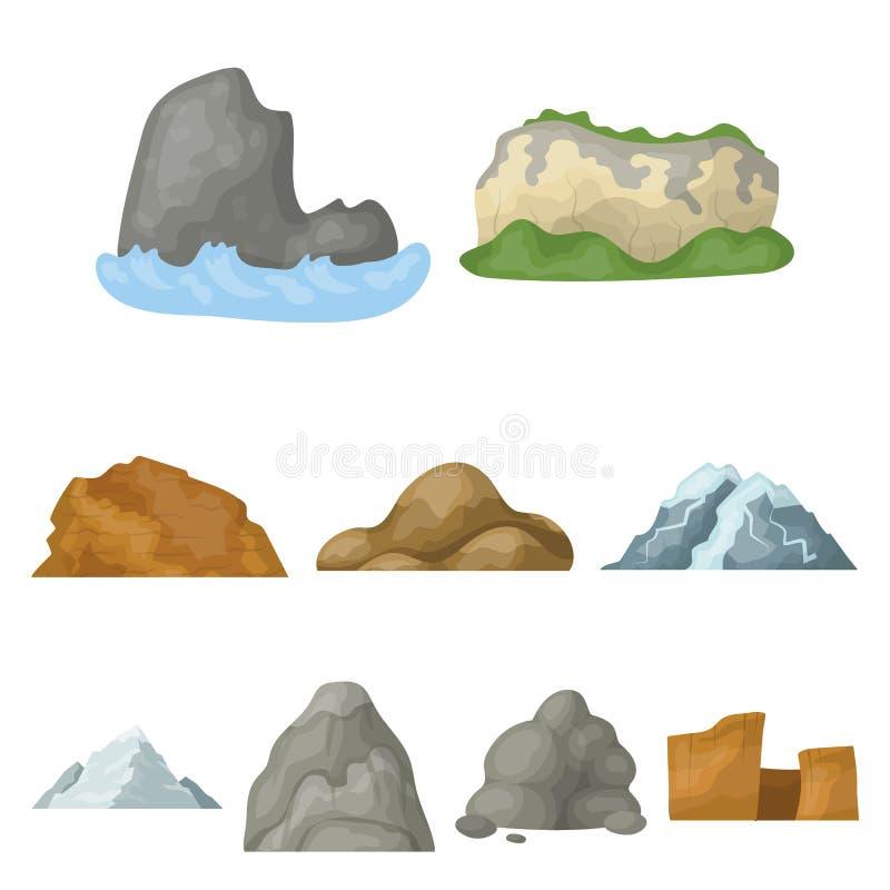 Uppsättning av symboler om olika berg Vinter sommarberg i en samling Olik bergsymbol i uppsättning vektor illustrationer