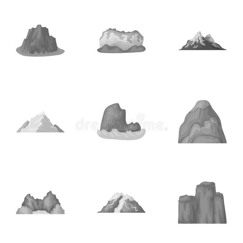 Uppsättning av symboler om olika berg Vinter sommarberg i en samling Olik bergsymbol i uppsättning royaltyfri illustrationer