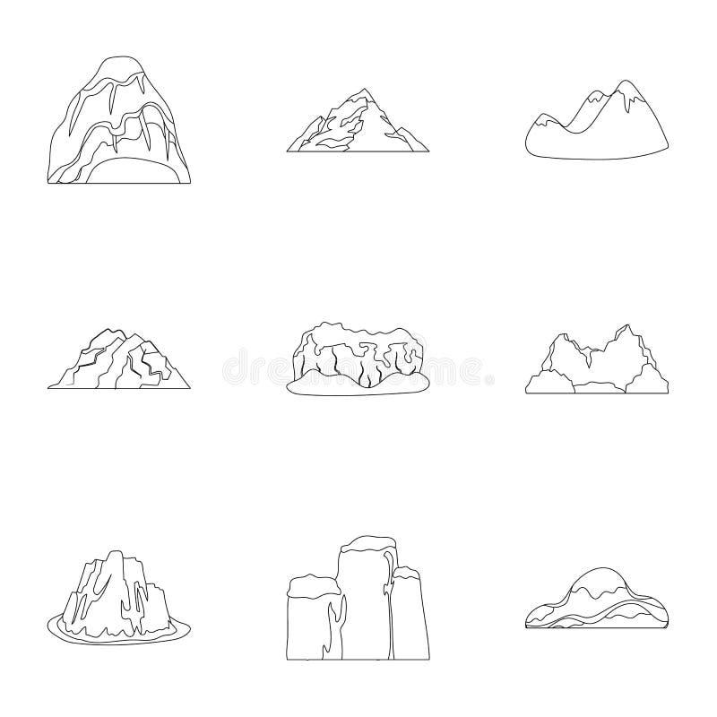 Uppsättning av symboler om olika berg Vinter sommarberg i en samling Olik bergsymbol i uppsättning stock illustrationer