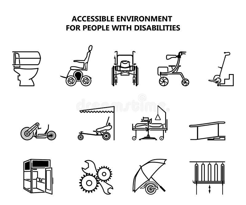 Uppsättning av symboler på den tillgängliga miljön för folk med handikapp stock illustrationer