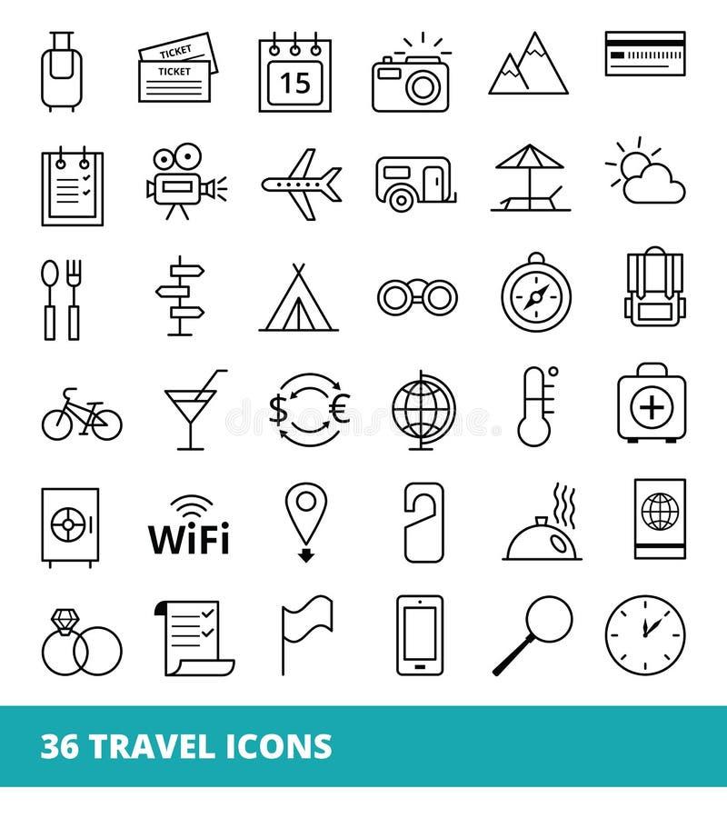 Uppsättning av symboler på ett temalopp och turism stock illustrationer