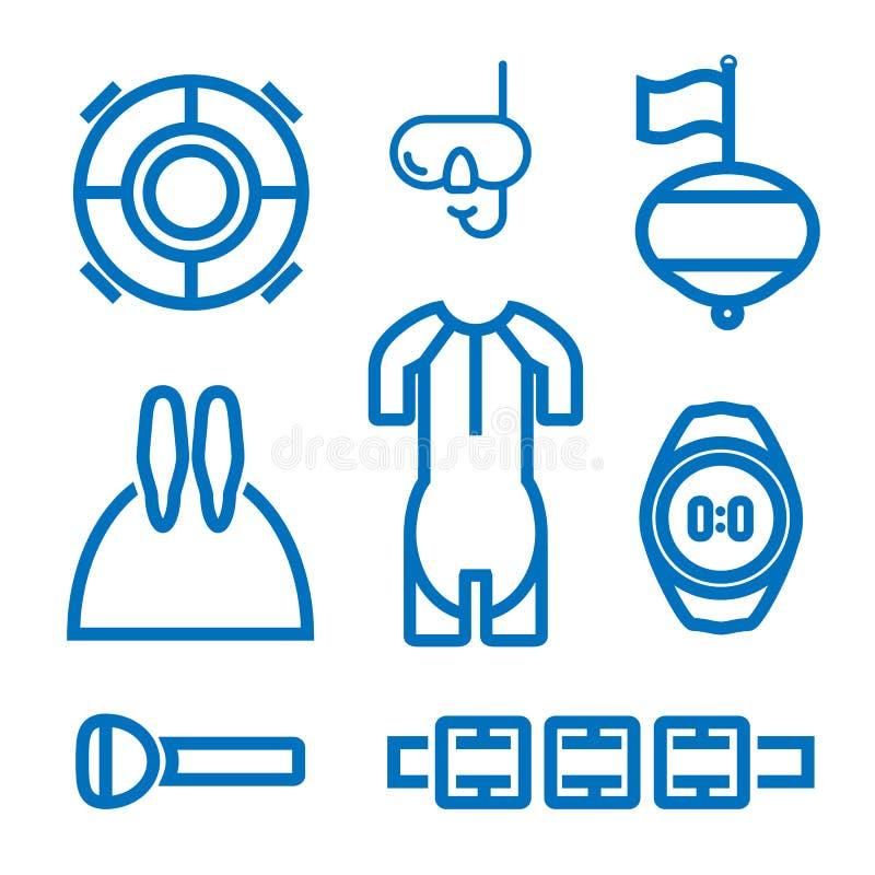 Uppsättning av symboler på temat av freediving royaltyfri foto