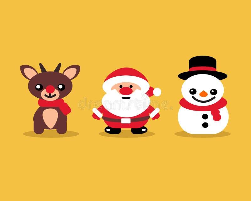 Uppsättning av symboler som firar julsnögubbeSanta Reindeer beiga vektor illustrationer