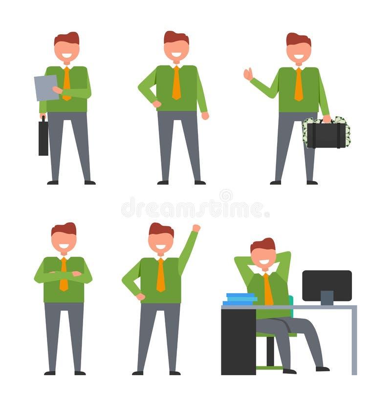 Uppsättning av symboler som visar som ler affärsmannen på arbete stock illustrationer