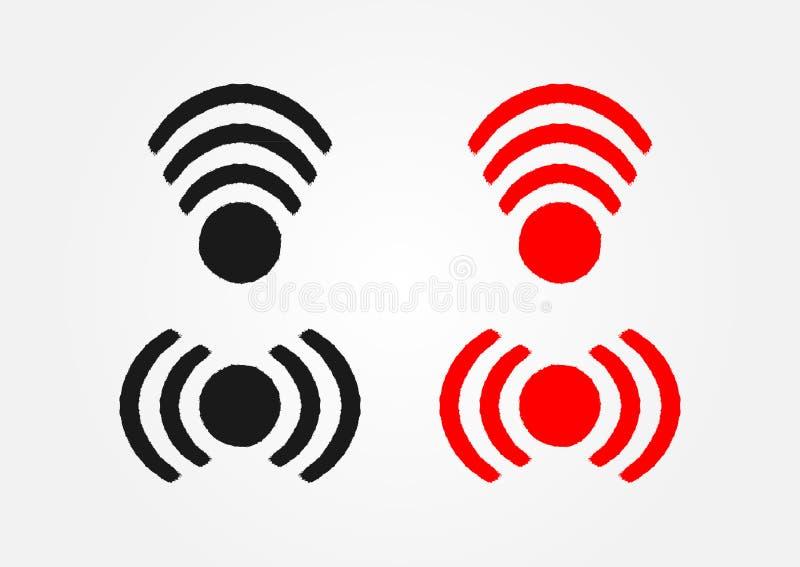 Uppsättning av symboler som wi-fi dras av handen med den grova borsten Svart och röda isolerade symboler stock illustrationer