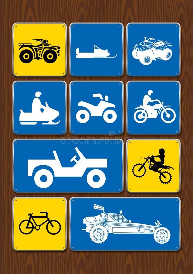 Uppsättning av symboler av utomhus- aktiviteter: cykla motocross, 4x4 medel, snövessla, sandmedel Symboler i blåttfärg stock illustrationer